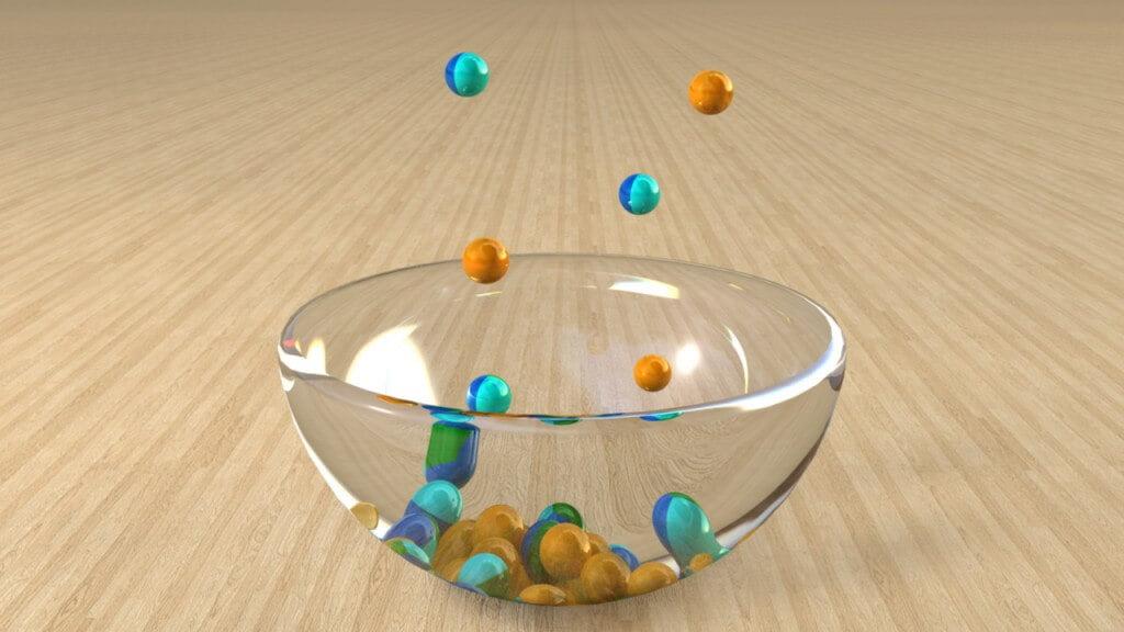 Perlen in Glasschüssel